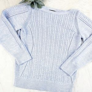 Banana Republic Blue & White Cable Knit Sweater